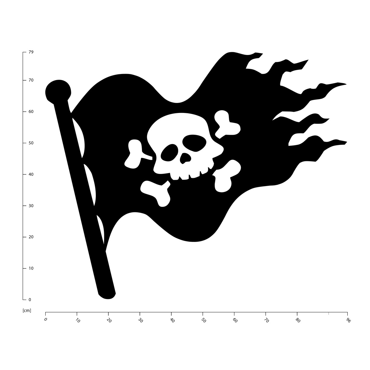 Childrens Art Vinyl Decal Skull and Crossbones Boys Pirate Flag Wall Sticker