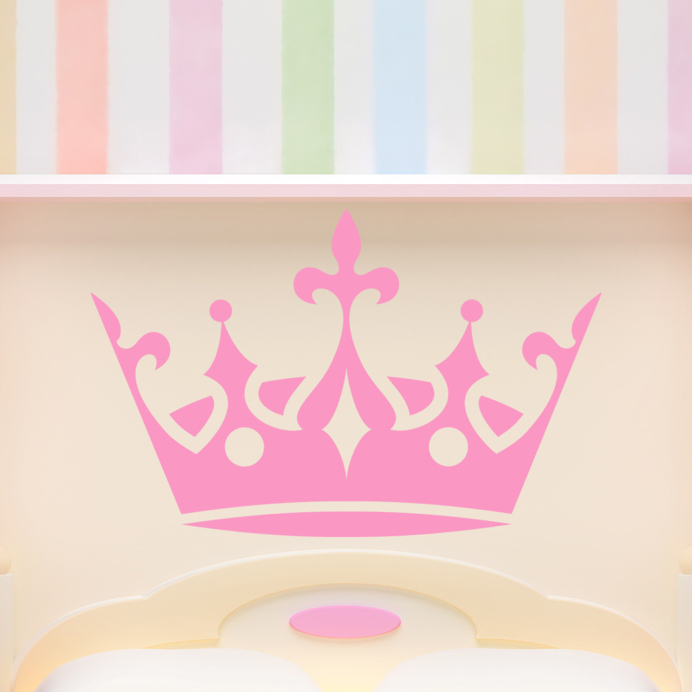 Princess crown royal tiara kids wall stickers home decor for Crown decorations home