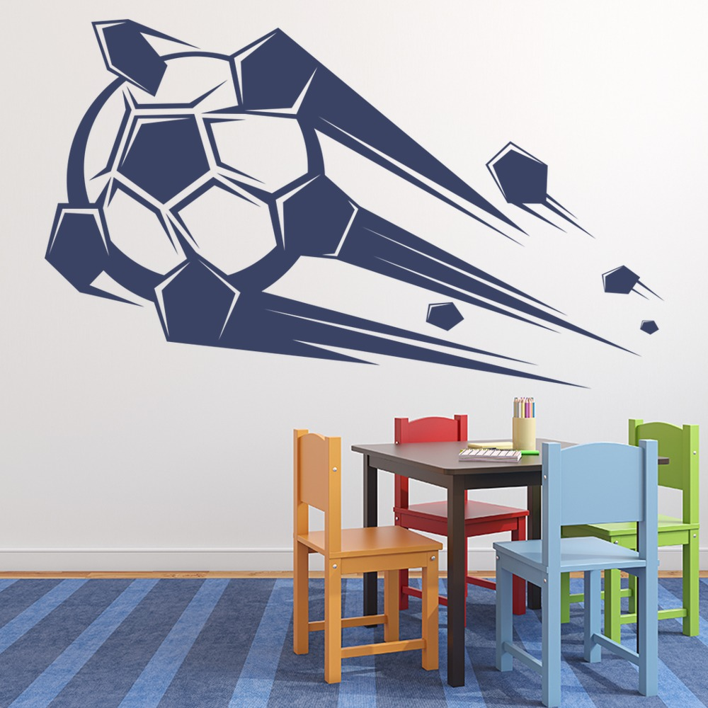 Flying Football Boot Ball Goal Kids Wall Stickers Sports ...