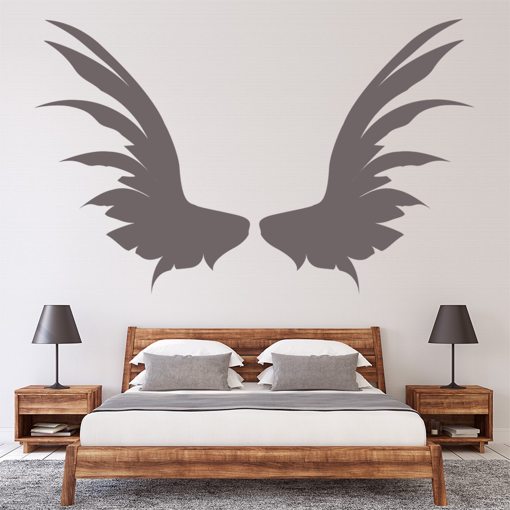 Angel wings broad feathers angels and wings wall stickers for Angel wings wall decoration uk
