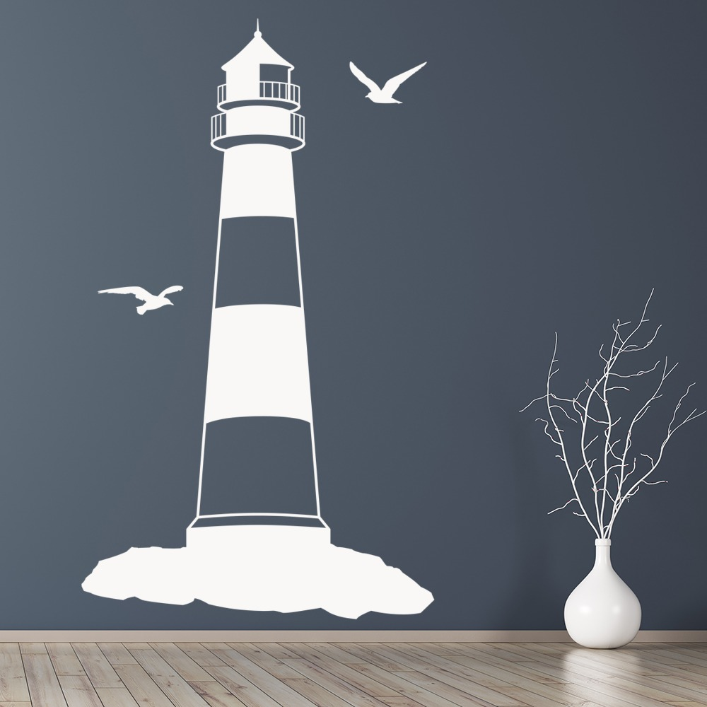 lighthouse with seagulls at the beach wall sticker wall decal lighthouse and flock of birds nautical vinyl