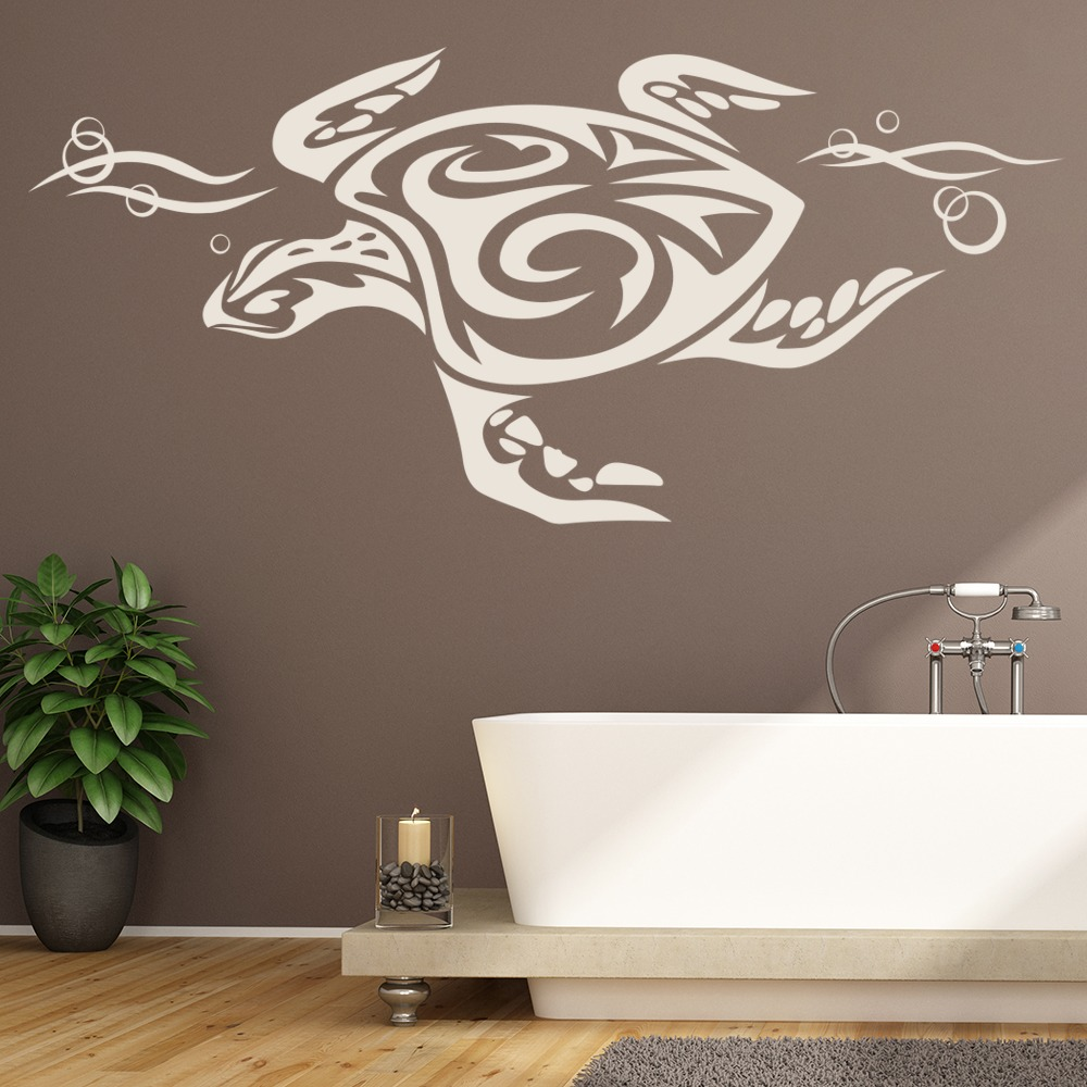 tribal sea turtle print under the sea wall sticker bathroom home decor art decal ebay. Black Bedroom Furniture Sets. Home Design Ideas
