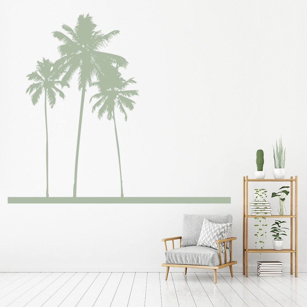Palm Trees Tropical Sketch Flowers And Trees Wall Stickers Home Decor Art  Decals
