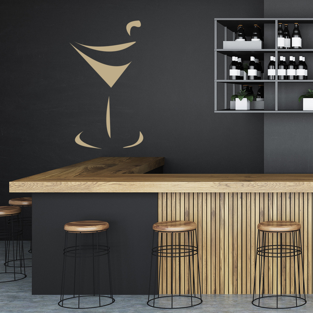 Cocktail glass restaurant food and drink wall stickers for Decorative kitchen accessories uk