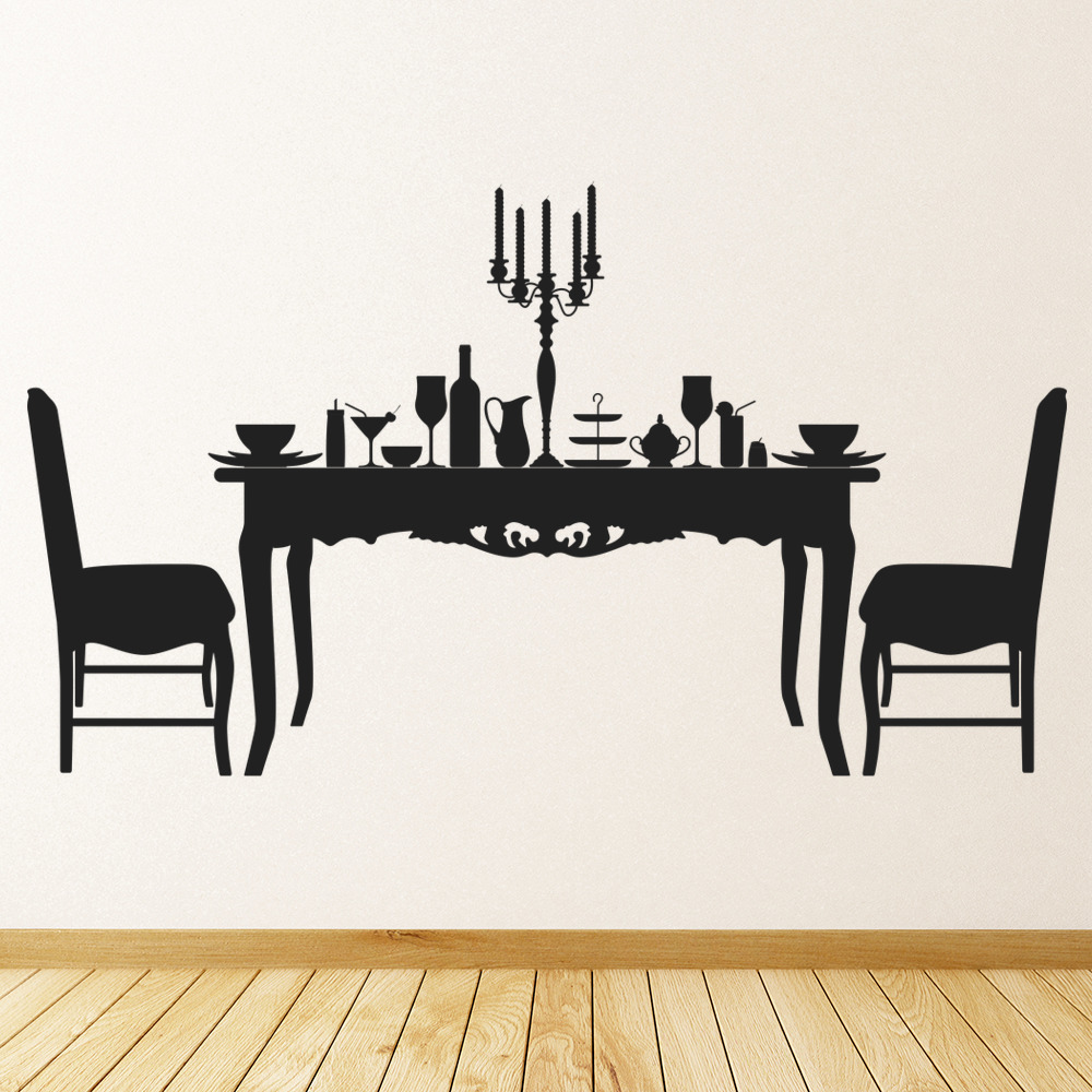 dining table chairs food dinner dining room wall stickers home decor