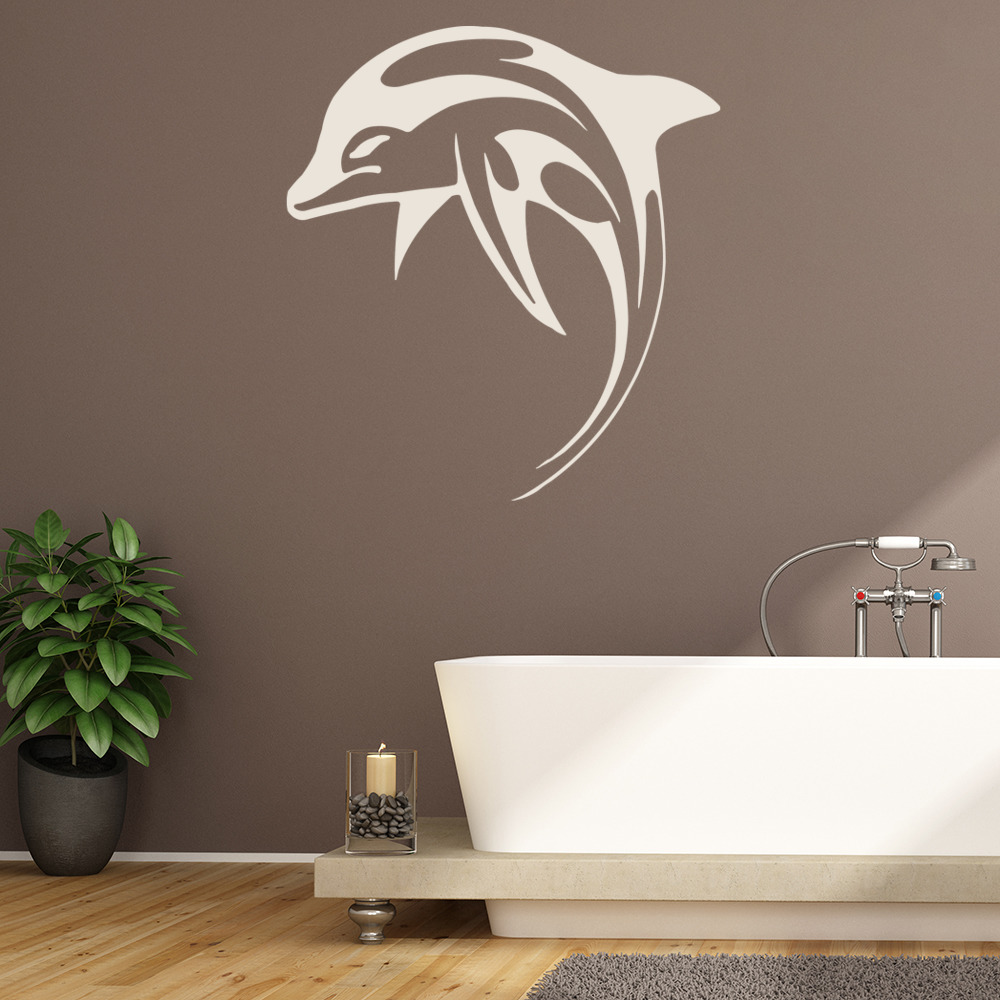 Dolphin Leaping Swimming Under The Sea Wall Stickers Bathroom Decor Art Decals Ebay