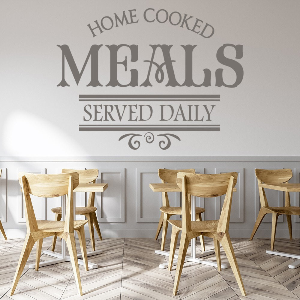 Home Cooked Meals Served Daily Quote Dining Room Wall Stickers Home Art Decals