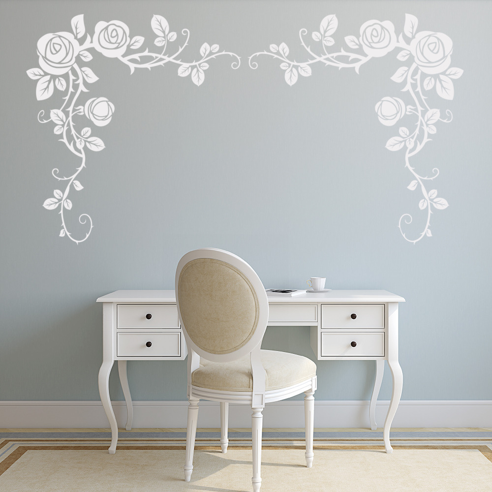 Floral Design Wall Decals : Corner roses with thorned vines floral design wall sticker
