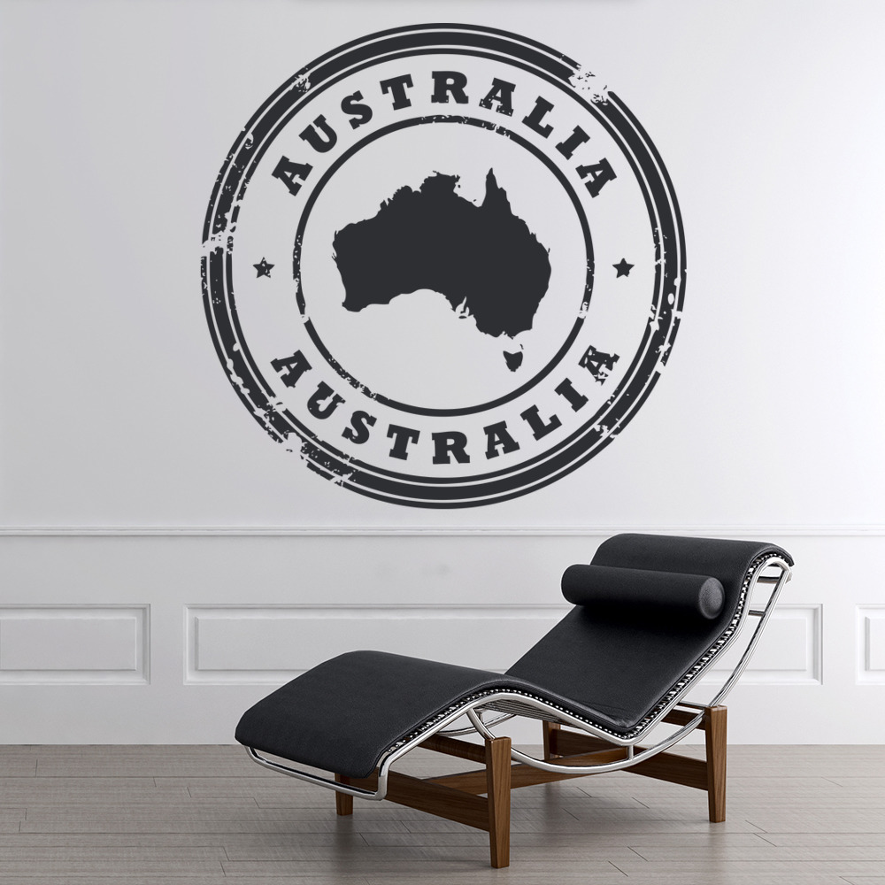 Australia Circular Badge Rest Of The World Wall Stickers Home Decor Art Decals Ebay: home decor wall decor australia