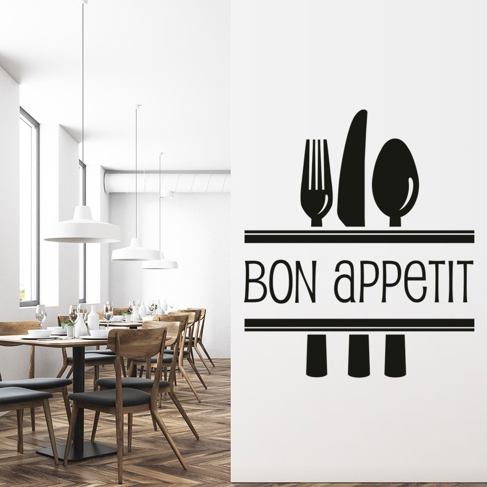 Bon Appetite Cutlery Food Quotes Slogans Wall Sticker Kitchen Decor Art Decals