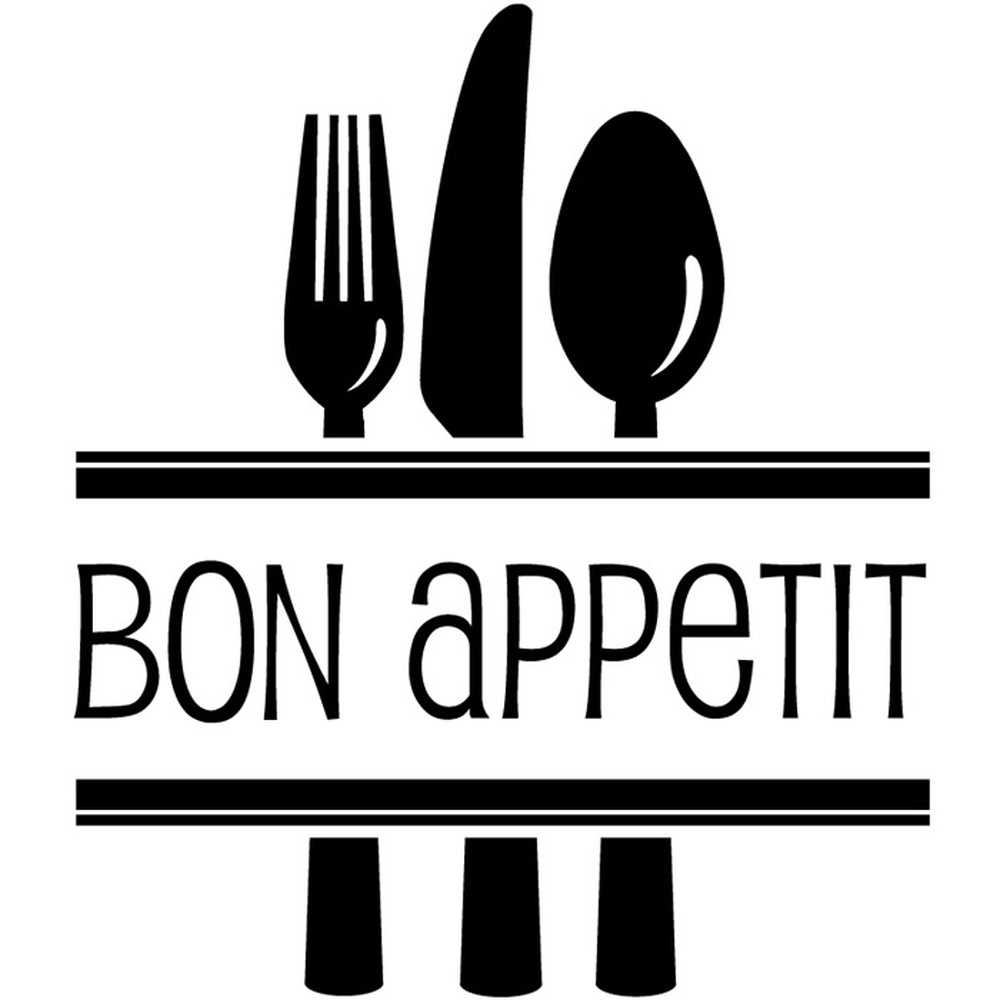 Bon appetite cutlery food quotes slogans wall sticker for Kitchen quote decals