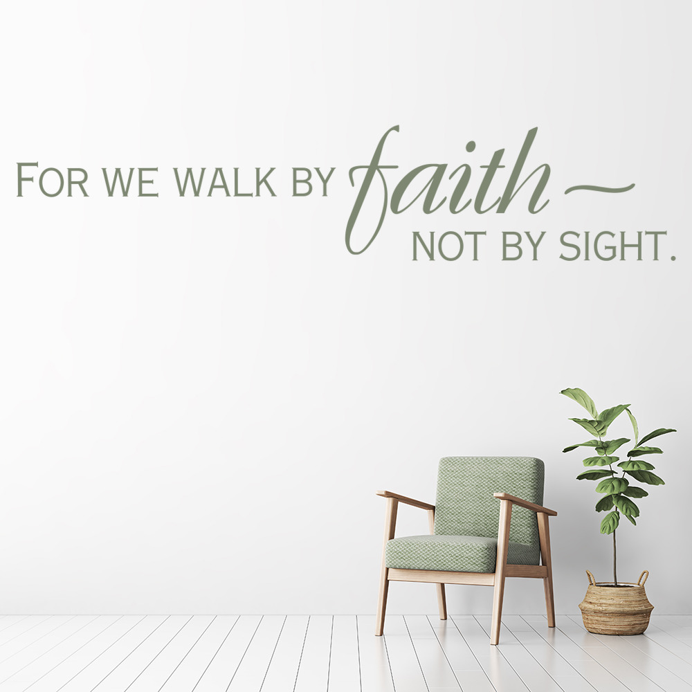 for we walk by faith religious quotes wall stickers home decor art decals ebay. Black Bedroom Furniture Sets. Home Design Ideas
