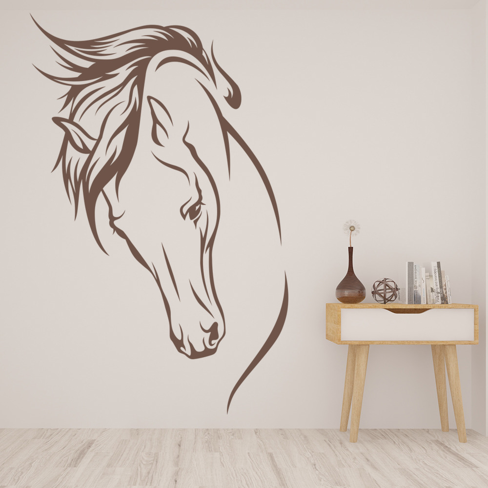 Wall Art Horse Decals : Horses head wild mane farmyard animals wall stickers home