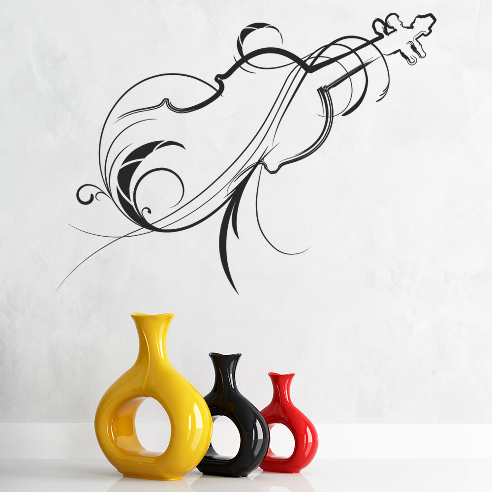Decorative violin outline musical notes instruments wall for Decor outline