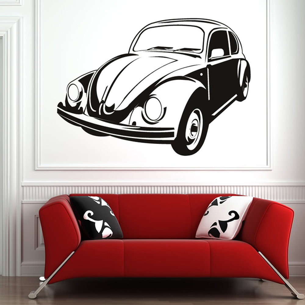 Vintage Auto Wall Decor : Vw beetle vintage retro classic car wall stickers