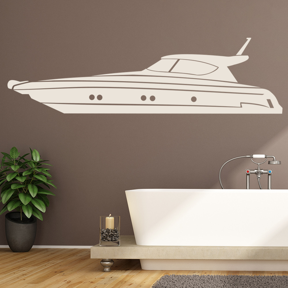 Boat Home Decor: Speed Boat Yacht Print Boats Wall Stickers Bathroom Home