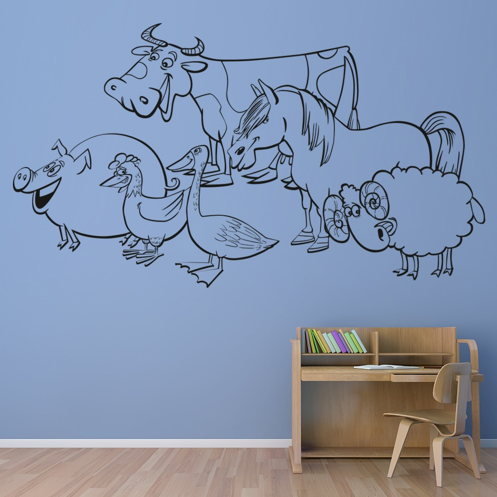 Animal farm cow pig horse sheep farmyard animals wall for Barnyard wall mural