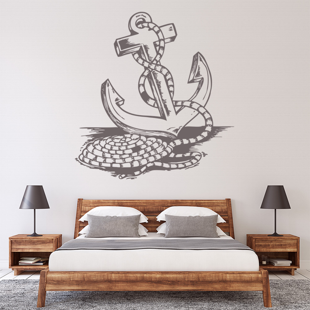 Rope around anchor nautical at the beach wall stickers for Beach wall mural sticker