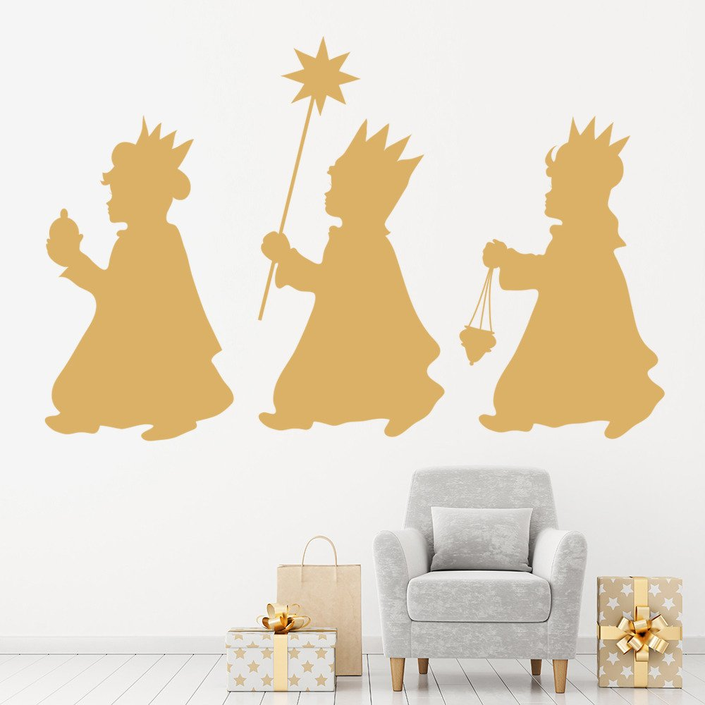 Three kings nativity silhouette christmas wall stickers for 30 lighted nativity christmas window silhouette decoration