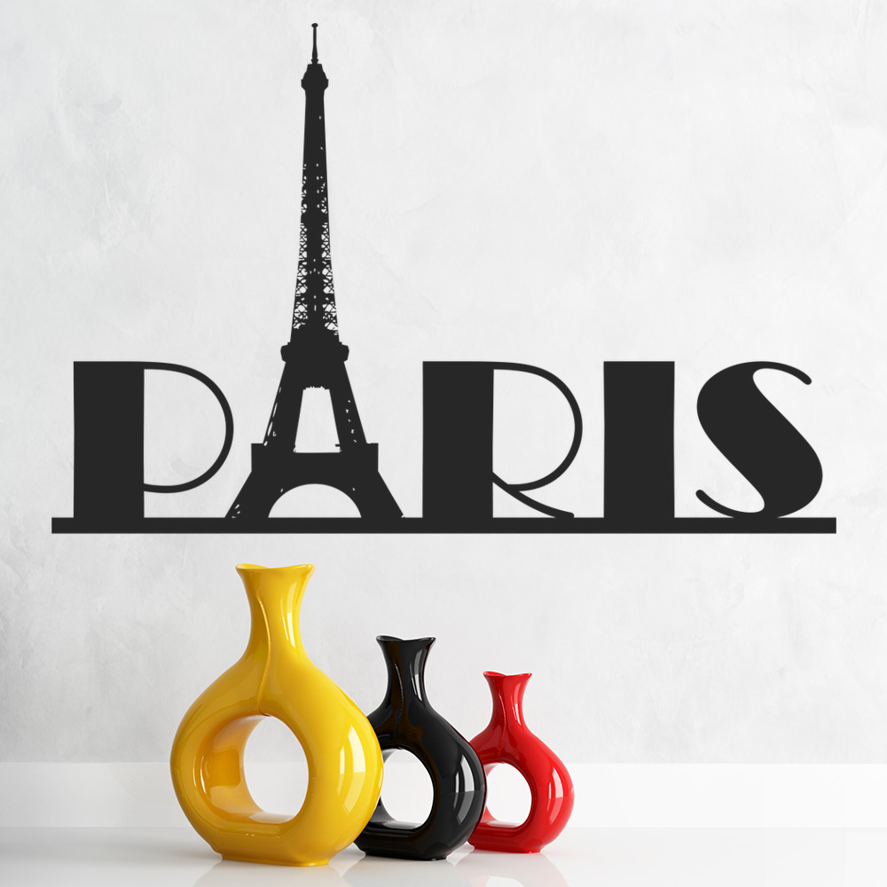paris eiffel tower france rest of the world wall stickers home decor art decals ebay. Black Bedroom Furniture Sets. Home Design Ideas