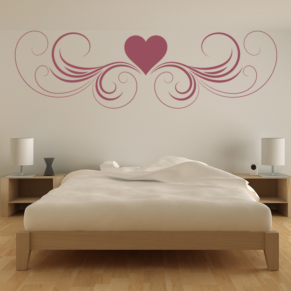 heart with swirls border love hearts wall stickers home decor art decals - Home Decor Decals