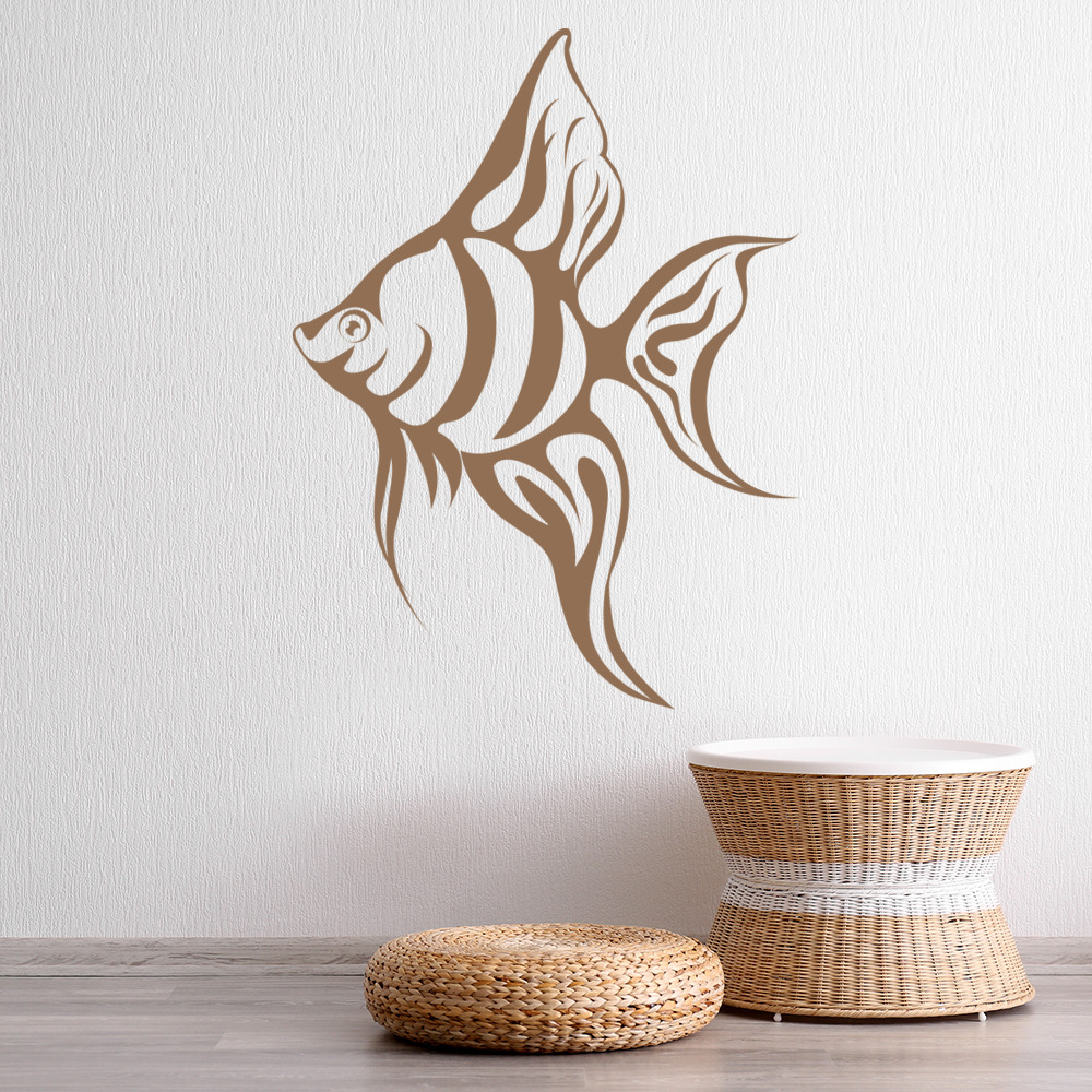 tropical angel fish under the sea wall stickers bathroom. Black Bedroom Furniture Sets. Home Design Ideas