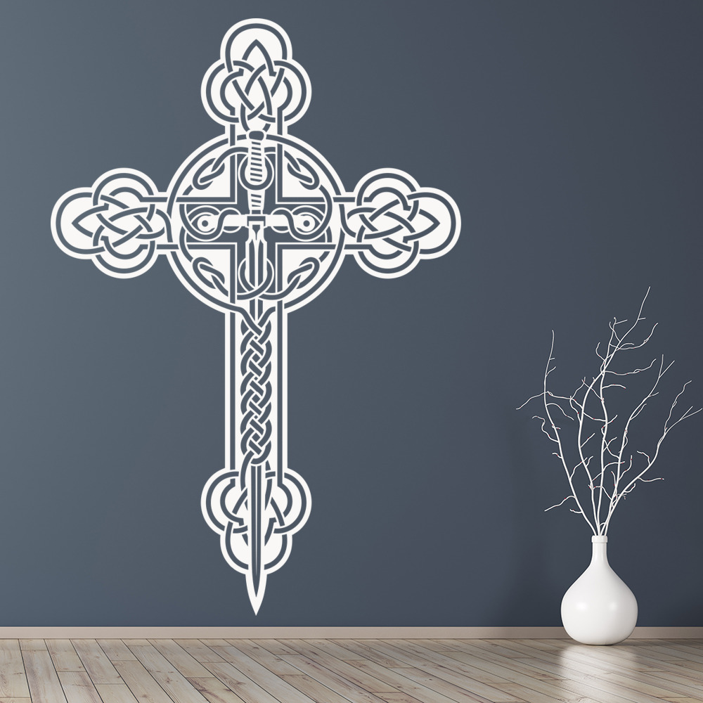Celtic cross clover top religion and peace wall stickers for Celtic decorations home