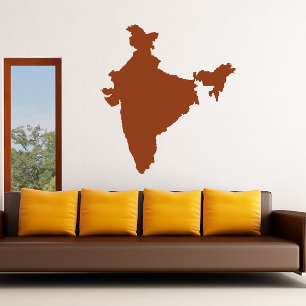 India Silhouette Map Country Rest of the World Wall Stickers Home