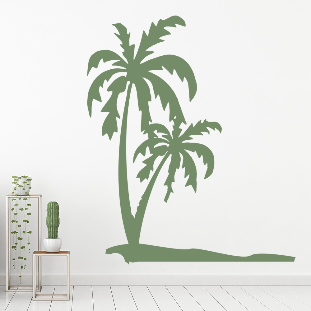 Palm Trees U0026 Beach Tropical Flowers And Trees Wall Stickers Home Decor Art  Decal