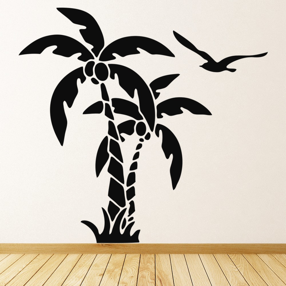 Palm Trees And Coconuts Tropical Flowers And Trees Wall Stickers Home Art  Decals