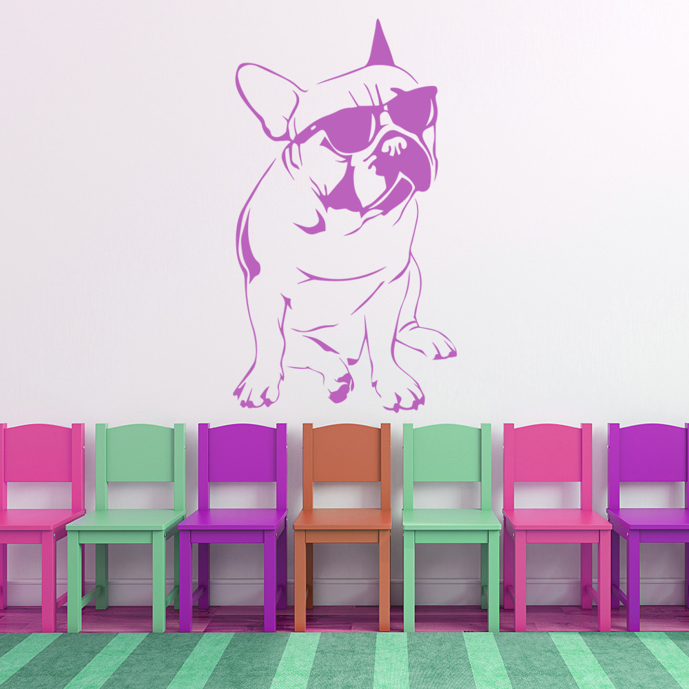 French Bulldog With Sunglasses Canine Pet Dogs Wall Sticker Home - Sporting wall decals