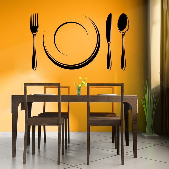 cutlery set and plate dining room utensils wall stickers