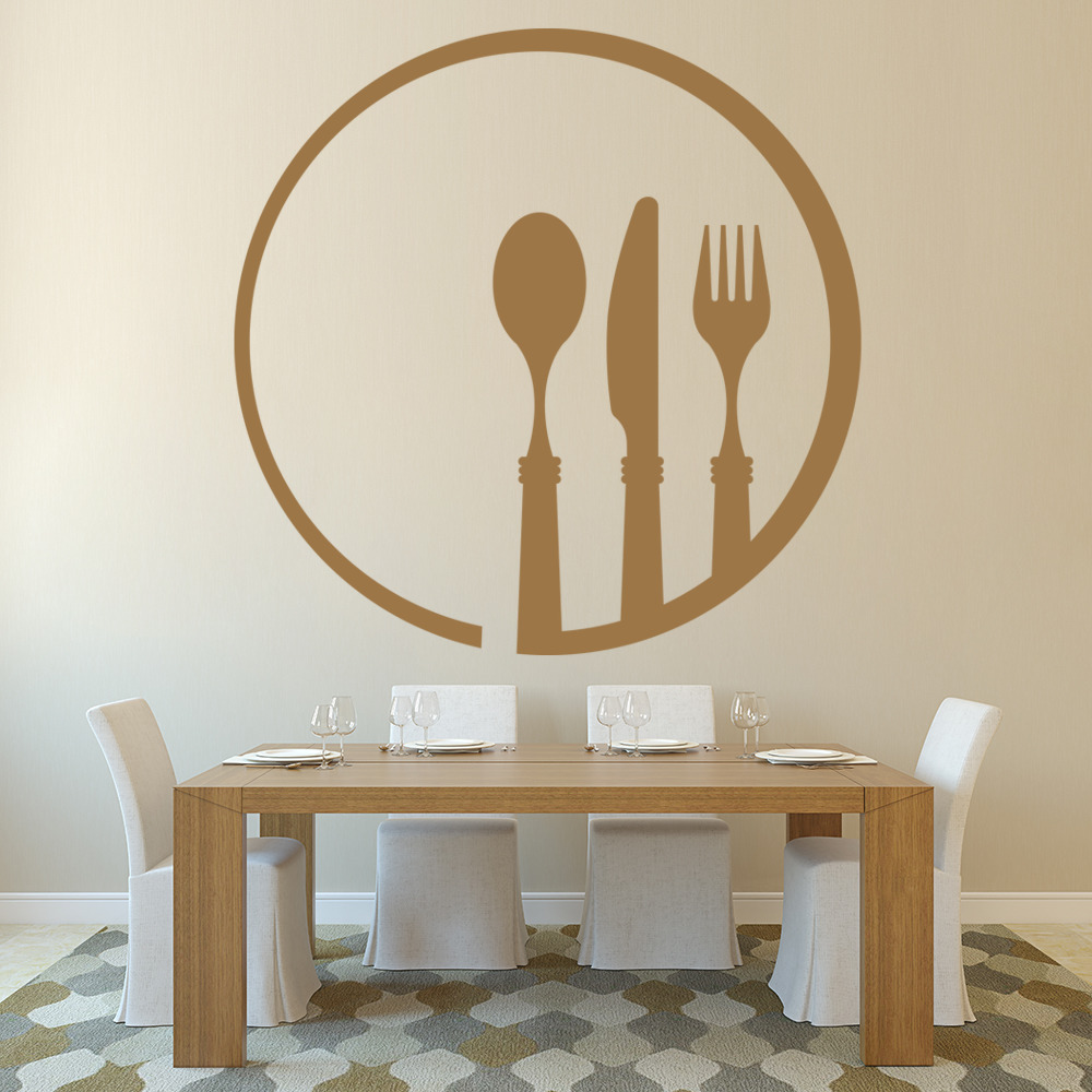 Cutlery and plate dining room utensils wall sticker home for Dining room utensils
