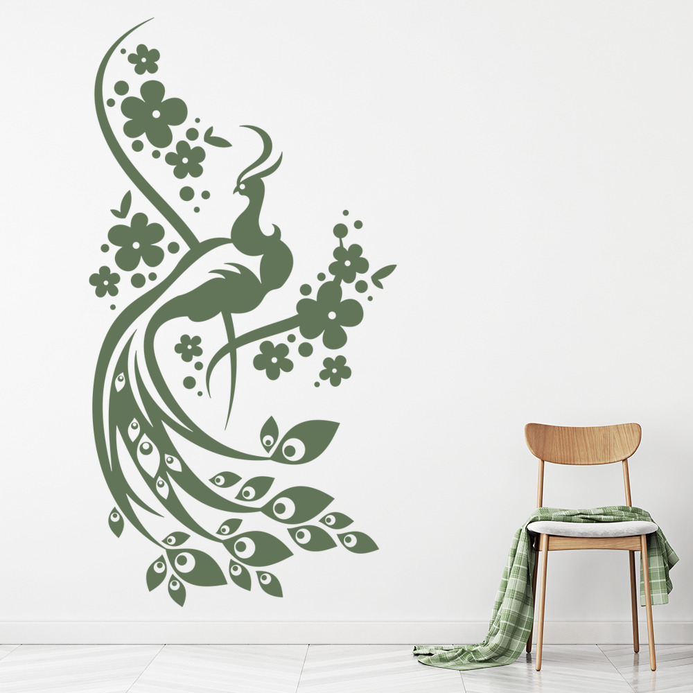 floral peacock wall art sticker wall decal ebay. Black Bedroom Furniture Sets. Home Design Ideas