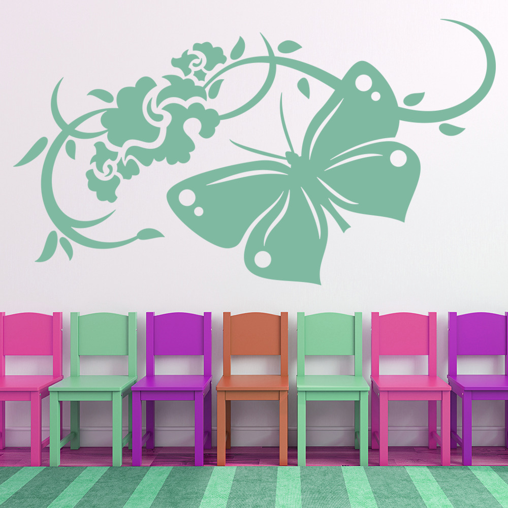 Butterfly and flowers wall stickers floral wall decal art for Butterfly wall mural stickers
