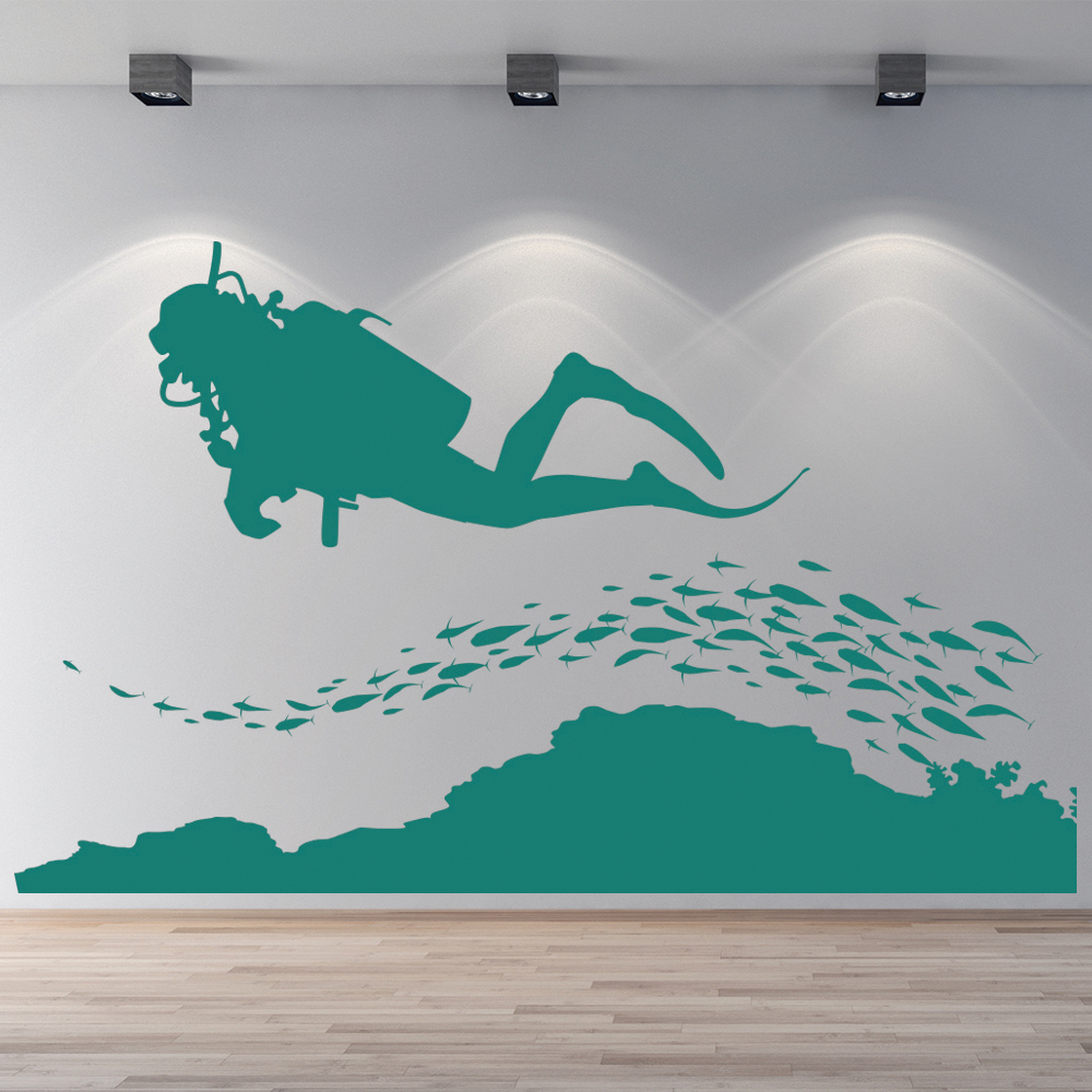 Bathroom wall decor stickers -  Scuba Diving Silhouette At The Beach Wall Sticker Bathroom Home Decor Art Decals