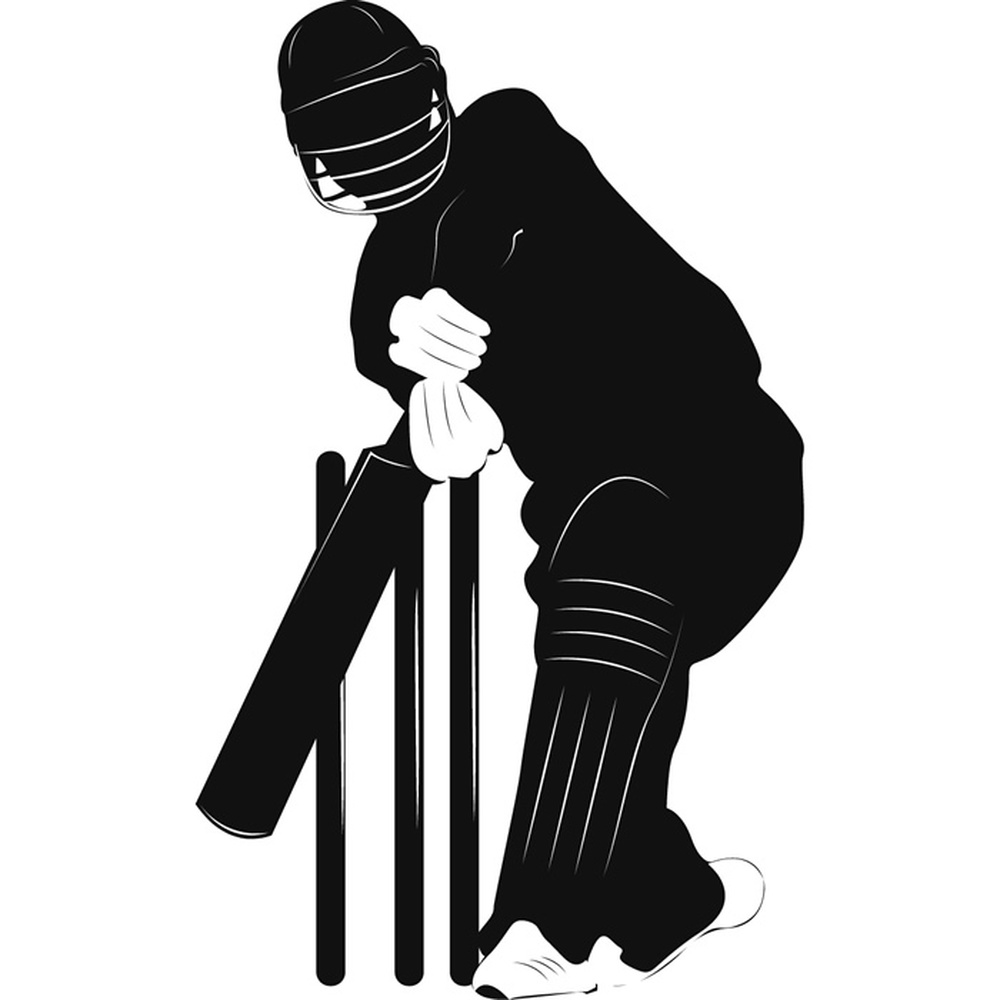 Cricketer And Wickets Silhouette Cricket Wall Stickers