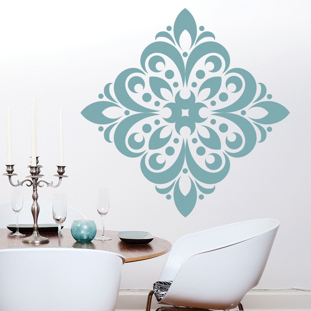 Floral Diamond Embellishment Floral Design Wall Stickers