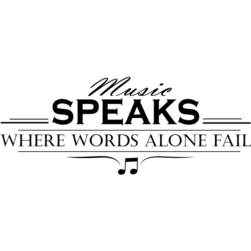 music speaks words alone fail life and inspirational quote wall sticker decals ebay. Black Bedroom Furniture Sets. Home Design Ideas