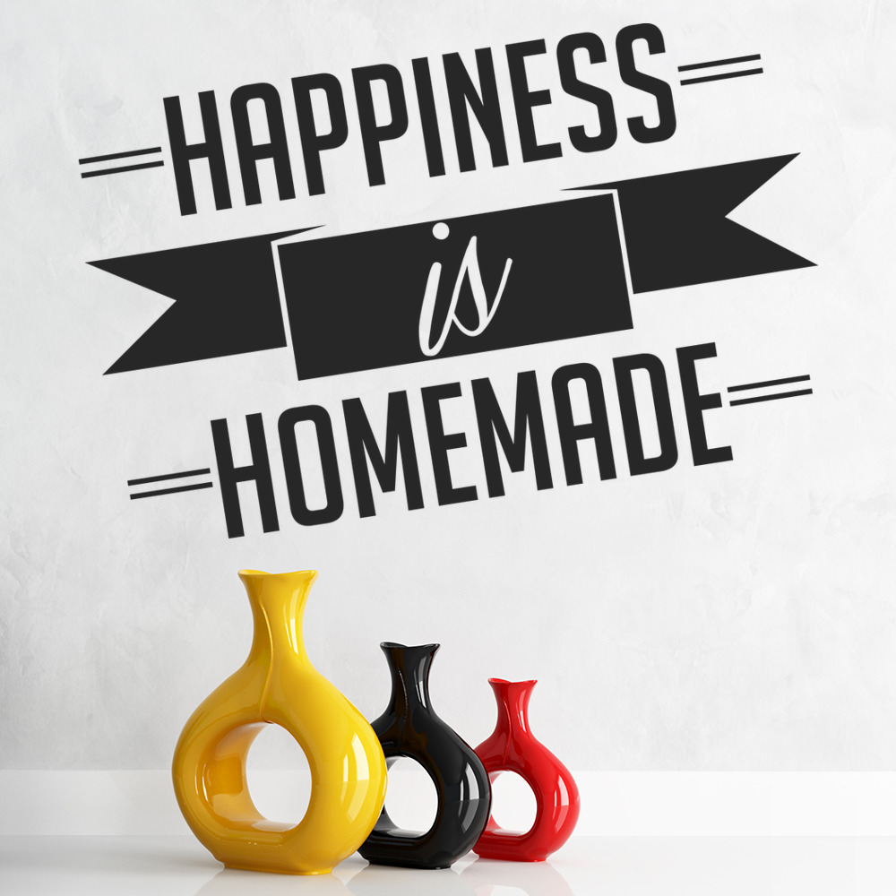 Happiness Is Homemade Home Decor Print Kitchen Quote: Happiness Is Homemade Family Home Quotes Wall Stickers