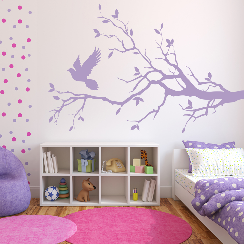 Birds Home Decor: Dove And Tree Silhouette Birds & Feathers Wall Stickers