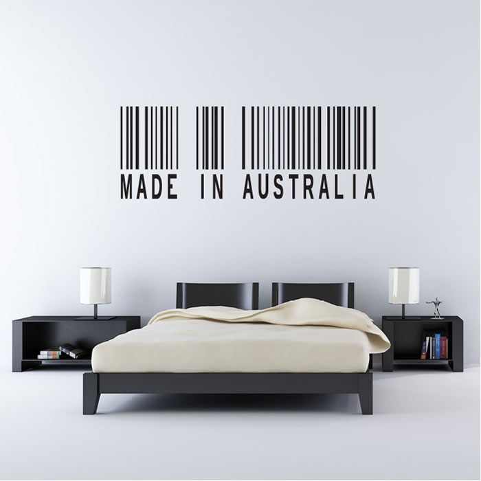 Made in australia barcode rest of the world wall stickers home decor art decals ebay Home decor wall decor australia