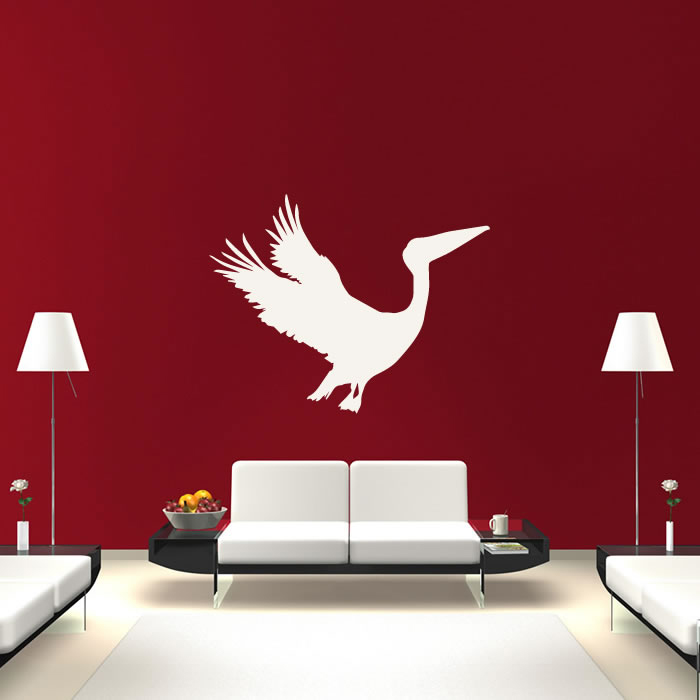 Pelican Flying Silhouette Birds Feathers Wall Stickers