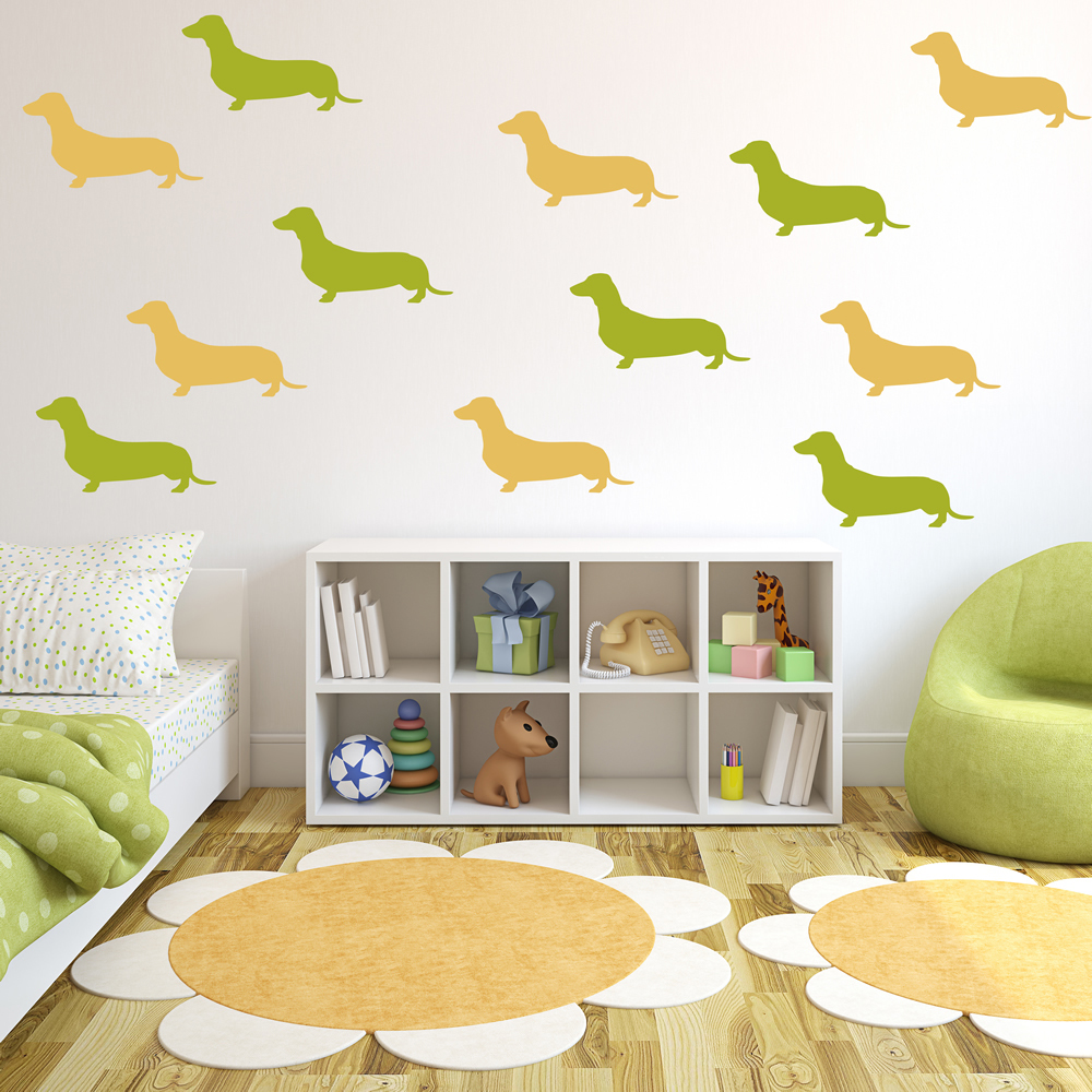 Dachshund Home Decor Dachshund Silhouette Dogs Creative Multipack Wall Stickers Home