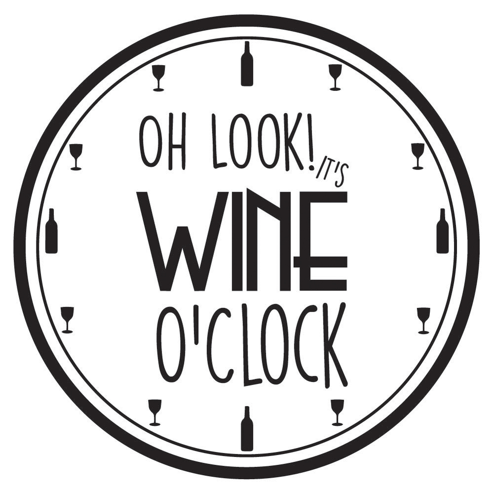 It's Wine O'Clock Comedy Clock Wall Quote Wall Stickers ...