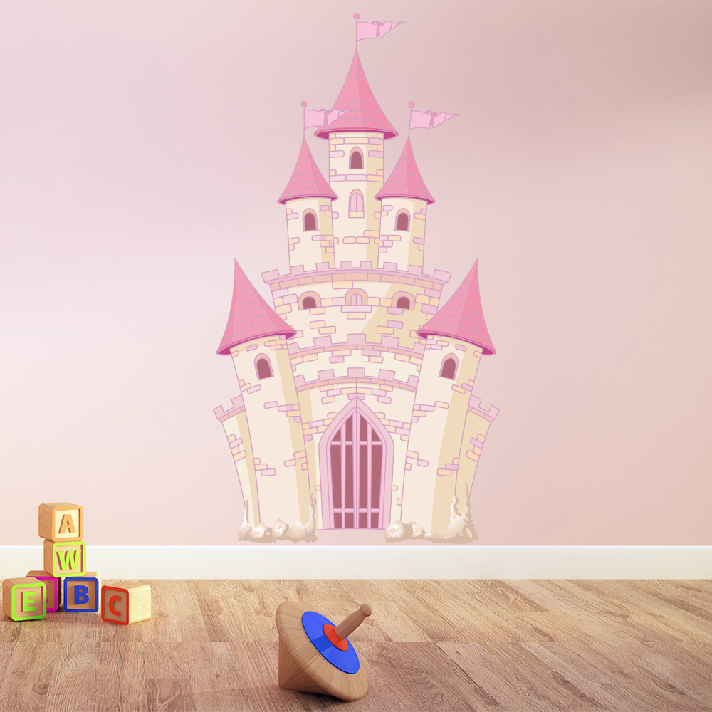 pink princess castle fantasy princess colour wall sticker princess snow white cinderella wall stickers decals