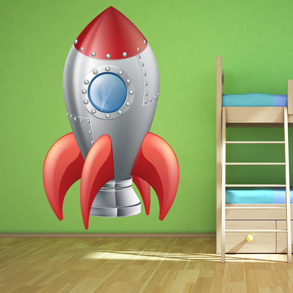 spaceship wall sticker space rocket wall decal boys