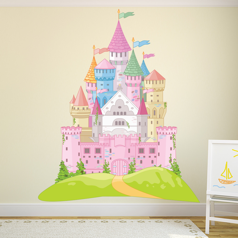 Fairytale castle pink princess colour wall sticker kids for Castle wall mural sticker