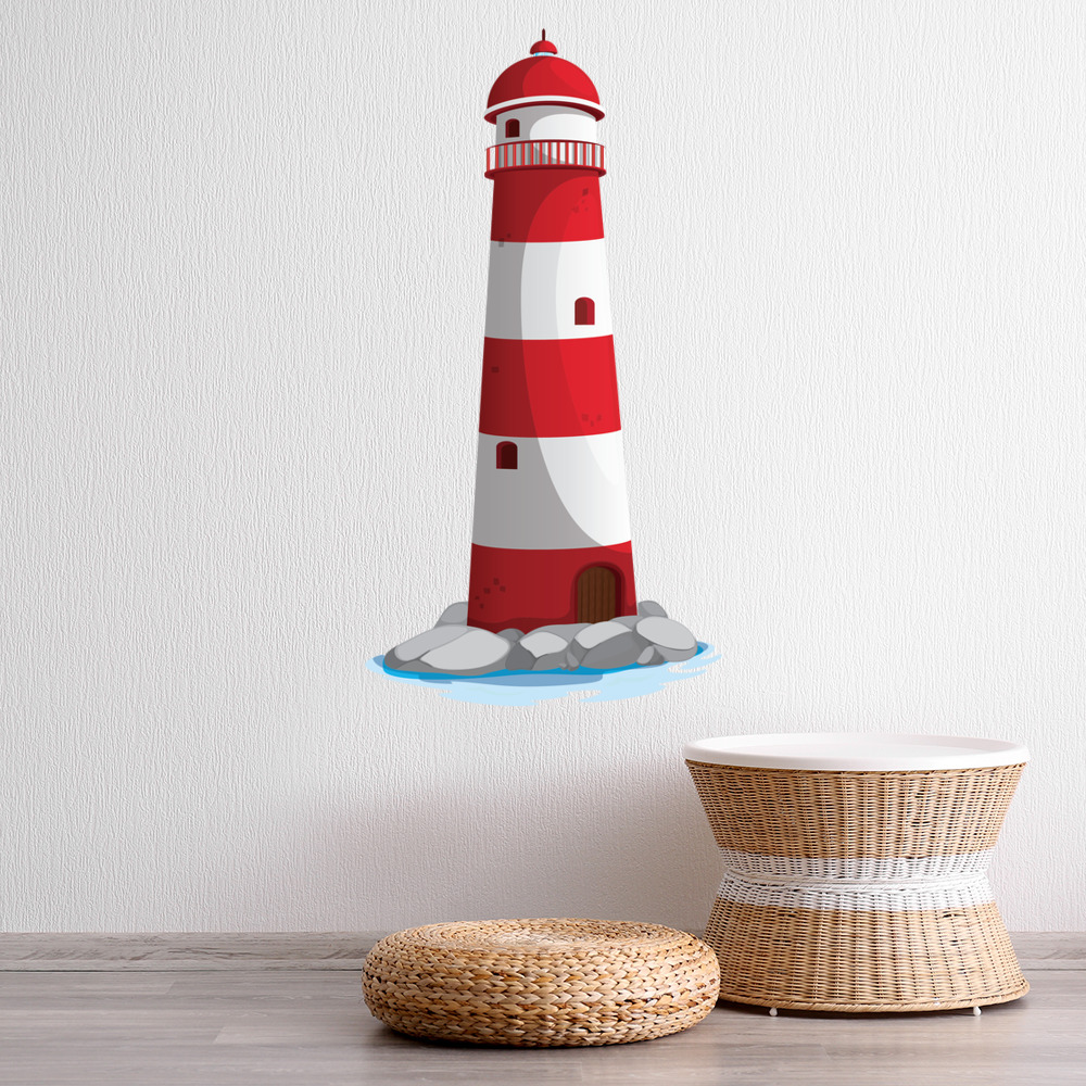 Red Lighthouse Kids Seaside Colour Wall Sticker Bathroom