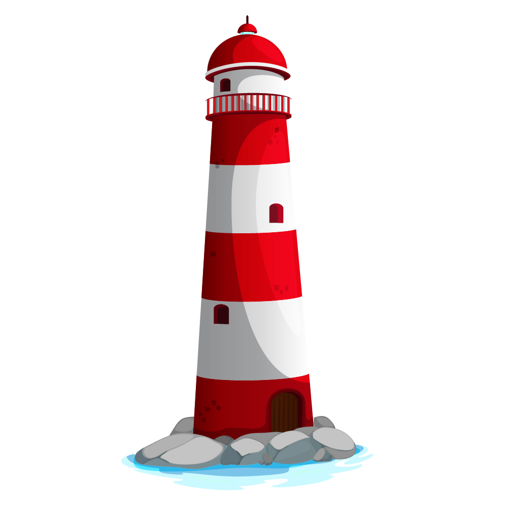 Red Lighthouse Wall Sticker Seaside Wall Decal Art